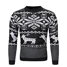 Men's Christmas Animal Pullover Long Sleeve Sweater Cardigans Crew Neck Winter Black