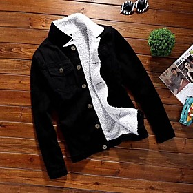Men's Daily Fall  Winter Regular Denim Jacket, Solid Colored Turndown Long Sleeve Polyester Black / Light Blue