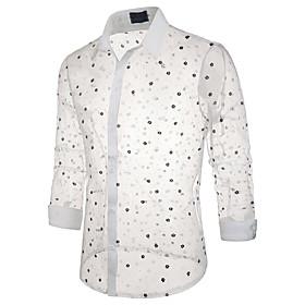 Men's Beach Shirt Geometric Lace Long Sleeve Tops Basic Sexy Classic Collar White Black