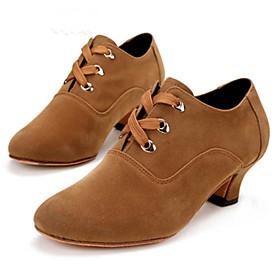Women's Dance Shoes Jazz Shoes / Ballroom Shoes / Line Dance Heel Cuban Heel Customizable Black / Red / Brown / Performance
