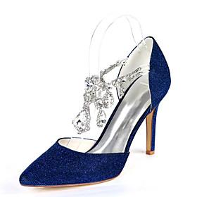 Women's Wedding Shoes Glitter Crystal Sequined Jeweled Plus Size Stiletto Heel Pointed Toe Minimalism Wedding Party  Evening Rhinestone Synthetics Black / Red