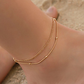 Ankle Bracelet Simple Boho Vintage Women's Body Jewelry For Daily Layered Copper Gold Silver 1pc