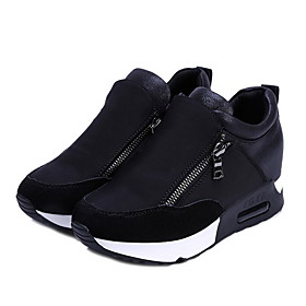 Women's Athletic Shoes Flat Heel Round Toe Canvas Running Shoes Fall  Winter Red / Black