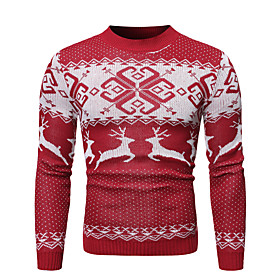 Men's Christmas Knitted Geometric Pullover Long Sleeve Sweater Cardigans Crew Neck Fall Winter Red Navy Blue