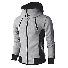 Men's Daily Fall  Winter Regular Jacket, Color Block Hooded Long Sleeve Polyester Light gray / Dark Gray / Beige