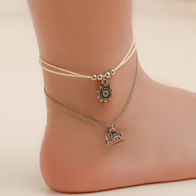 Ankle Bracelet Women's Body Jewelry For Holiday PU Leather Alloy Silver 1pc