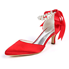 Women's Wedding Shoes Lace up Plus Size Kitten Heel Pointed Toe Classic Wedding Party  Evening Imitation Pearl Ribbon Tie Solid Colored Satin Walking Shoes Sum