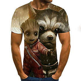 Men's Weekend Plus Size T-shirt 3D Graphic Animal Pleated Print Short Sleeve Tops Streetwear Round Neck Khaki / Summer