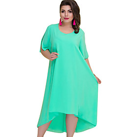 Women's Plus Size Swing Dress - Short Sleeve Solid Colored Blue Green Navy Blue XL XXL XXXL XXXXL