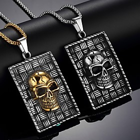 Men's Pendant Necklace Necklace Classic Skull Vintage Trendy Ethnic Fashion Chrome Gold Silver 65 cm Necklace Jewelry 1pc For Daily