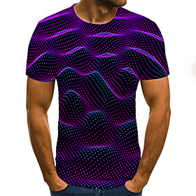 Men's Plus Size Geometric 3D Pleated Print T-shirt Street chic Weekend Round Neck Purple / Summer / Short Sleeve