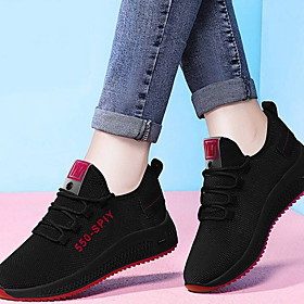 Women's Athletic Shoes Flat Heel Round Toe PU Running Shoes Spring  Summer Black / Red / Purple