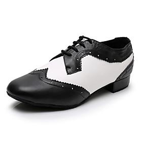 Men's Modern Shoes Heel Thick Heel PU Black / White / Performance / Practice