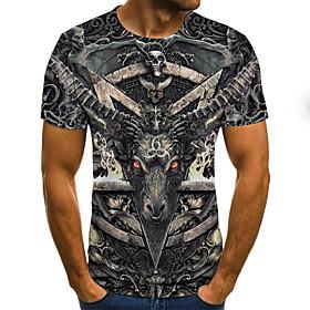 Men's 3D Graphic Print T-shirt Rock Street chic Halloween Holiday Round Neck Army Green / Short Sleeve / Skull