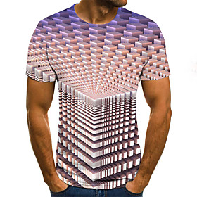 Men's Weekend Plus Size T-shirt Geometric 3D Graphic Pleated Print Short Sleeve Tops Streetwear Round Neck Purple