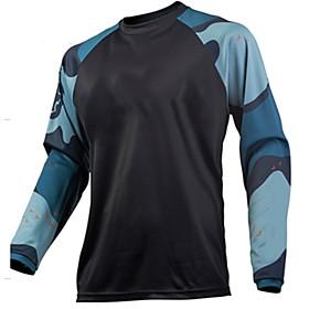Men's Long Sleeve Cycling Jersey Downhill Jersey Dirt Bike Jersey Winter Polyester RedBlack Black / Yellow Black / Orange Geometic Bike Jersey Motorcyle Clothi