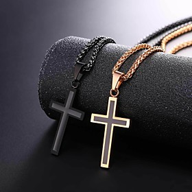 Men's Pendant Necklace Rope franco chain Cross Dangling Stainless Steel Black Silver Rose Gold 55 cm Necklace Jewelry 1pc For Gift Daily