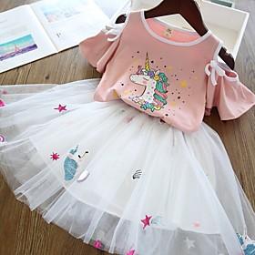 Kids Girls' Basic Unicorn Print Short Sleeve Clothing Set White Fabric:Polyester; Sleeve Length:Short Sleeve; Gender:Girls'; Style:Basic; Kids Apparel:Clothing Set; Age Group:Kids; Pattern:Print; Front page:FF; Listing Date:09/12/2019; Bust:; Length [Bottom]:; Length [Top]:; Pattern Theme:Unicorn