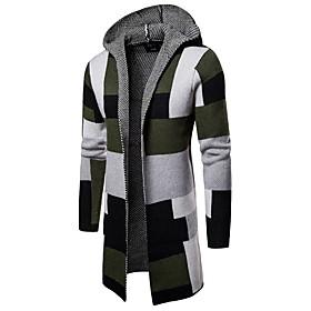 Men's Color Block Cardigan Long Sleeve Sweater Cardigans Hooded Green Gray