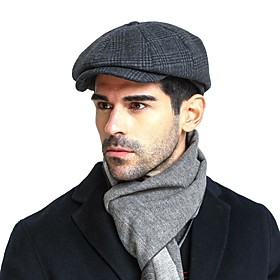 Men's Basic Cashmere Cotton Acrylic Beret Hat Floppy Hat-Color Block Fall Winter Navy Blue