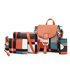 Women's PU Bag Set Lattice 4 Pieces Purse Set Black / Red / Brown