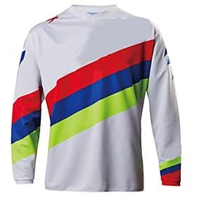 Men's Long Sleeve Cycling Jersey Downhill Jersey Dirt Bike Jersey Winter Polyester White Geometic Bike Jersey Motorcyle Clothing Top Mountain Bike MTB Road Bik