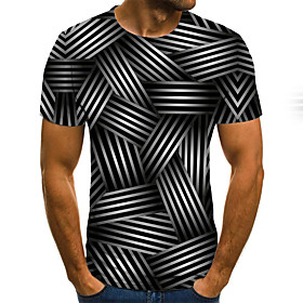 Men's Weekend Plus Size T-shirt 3D Graphic Pleated Print Short Sleeve Tops Streetwear Round Neck Black / Summer