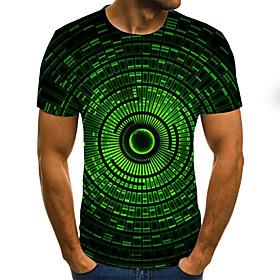 Men's Weekend Plus Size T-shirt Geometric Color Block 3D Pleated Print Short Sleeve Tops Streetwear Round Neck Green / Summer