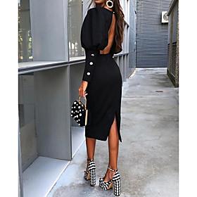 Women's Sheath Dress Knee Length Dress - Long Sleeve Solid Colored Backless Elegant Slim Black S M L XL