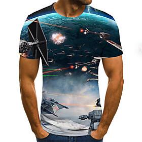 Men's Weekend Plus Size T-shirt Geometric 3D Pleated Print Short Sleeve Tops Streetwear Round Neck Royal Blue