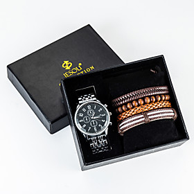 Men's Steel Band Watches Quartz New Arrival Chronograph Analog Silver / One Year / Stainless Steel
