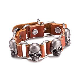 Men's Leather Bracelet Geometrical Skull Vintage Alloy Bracelet Jewelry Silver For Daily