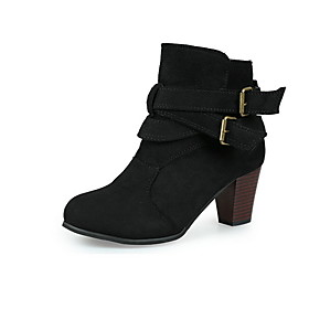 Women's Boots Chunky Heel Round Toe Classic Daily Buckle Solid Colored Suede Booties / Ankle Boots Light Brown / Black / Yellow