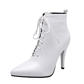 Women's Boots Stiletto Heel Pointed Toe PU Booties / Ankle Boots Classic Fall  Winter Black / White / Red / Party  Evening
