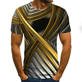 Men's Plus Size Abstract Graphic Pleated Print T-shirt Street chic Weekend Round Neck Gold / Summer / Short Sleeve