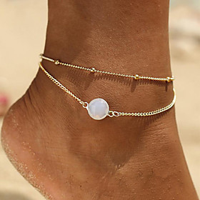 Ankle Bracelet Elegant Korean Fashion Women's Body Jewelry For Daily Layered Alloy Lucky Gold Silver 1pc