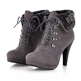 Women's Boots Stiletto Heel Round Toe Suede Booties / Ankle Boots Fall  Winter Black / Brown / Gray