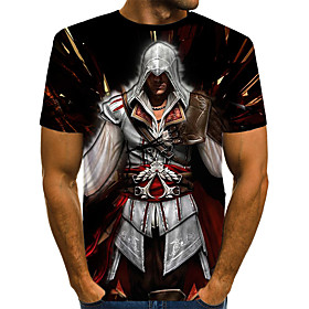 Men's 3D Graphic Print T-shirt Vintage Rock Daily Holiday Round Neck Rainbow / Short Sleeve