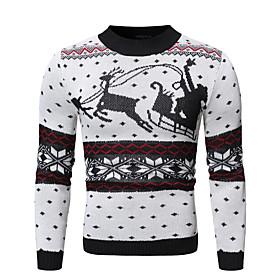 Men's Christmas Animal Pullover Long Sleeve Sweater Cardigans Crew Neck Winter White Black