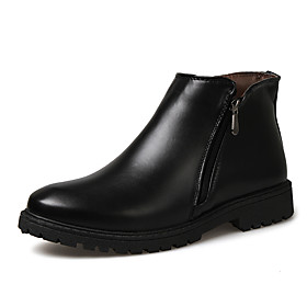 Men's Boots Fashion Boots Work Boots British Daily Leather Non-slipping Wear Proof Mid-Calf Boots Black / Brown Fall  Winter