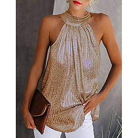 Women's Tank Top Solid Colored Halter Neck Tops Basic Basic Top Black Gold Silver