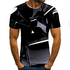 Men's Weekend Plus Size T-shirt Geometric 3D Graphic Pleated Print Short Sleeve Tops Streetwear Round Neck Black / Summer