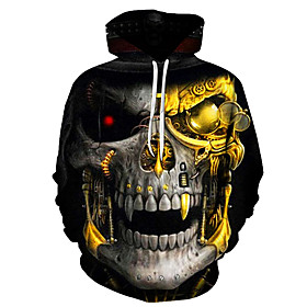 Men's Plus Size Hoodie 3D / Skull Hooded Casual / Street chic Yellow US32 / UK32 / EU40 US34 / UK34 / EU42 US36 / UK36 / EU44 US38 / UK38 / EU46 US40 / UK40 /