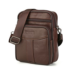 Men's Bags Nappa Leather / Cowhide Briefcase Zipper Solid Color for Daily Light Coffee / Dark Coffee / Fall  Winter