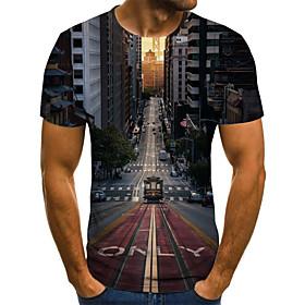 Men's Weekend Plus Size T-shirt Scenery Pleated Print Short Sleeve Tops Streetwear Round Neck Black / Summer
