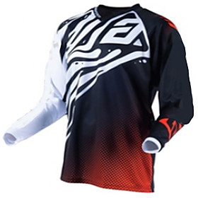 Men's Long Sleeve Cycling Jersey Downhill Jersey Dirt Bike Jersey Winter Polyester Black / Red Geometic Bike Jersey Motorcyle Clothing Top Mountain Bike MTB Ro