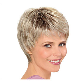 Synthetic Wig Straight Layered Haircut Wig Blonde Short Light golden Synthetic Hair 8inch Women's Odor Free Normal Fashionable Design Blonde / Heat Resistant /