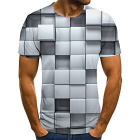 Men's Weekend Plus Size T-shirt Geometric 3D Graphic Pleated Print Short Sleeve Tops Streetwear Round Neck Gray / Summer