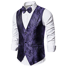 Men's V Neck Vest Geometric Black / Blue / Purple US34 / UK34 / EU42 / US36 / UK36 / EU44 / US38 / UK38 / EU46 / Skinny