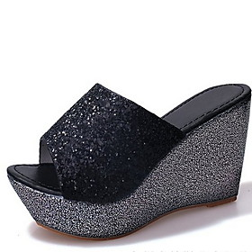 Women's Sandals / Clogs  Mules Wedge Sandals Glitter Crystal Sequined Jeweled Summer Wedge Heel Open Toe Casual Basic Minimalism Daily Solid Colored Linen Blac